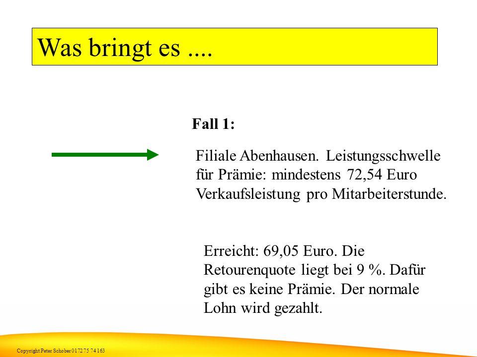 Was bringt es .... Fall 1: Filiale Abenhausen. Leistungsschwelle für Prämie: mindestens 72,54 Euro Verkaufsleistung pro Mitarbeiterstunde.