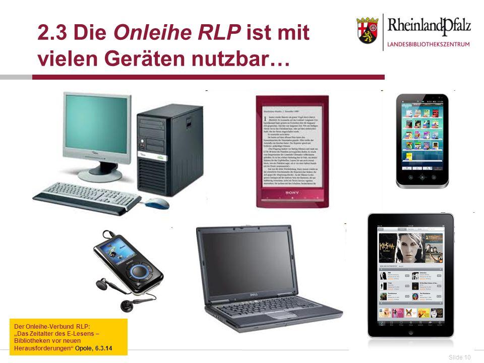 2.3 Die Onleihe RLP ist mit vielen Geräten nutzbar…