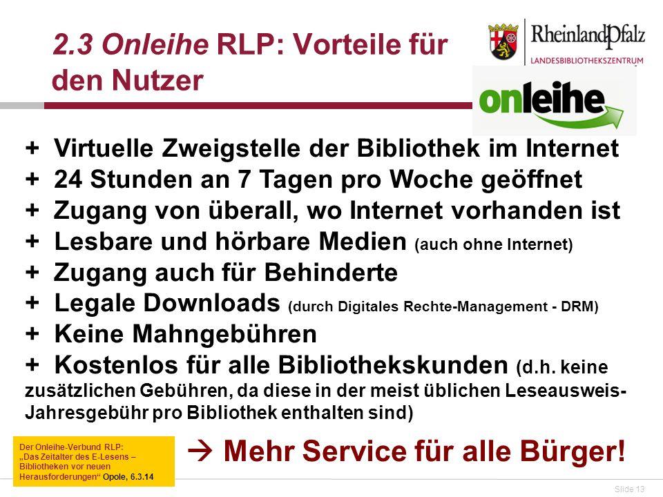 2.3 Onleihe RLP: Vorteile für den Nutzer