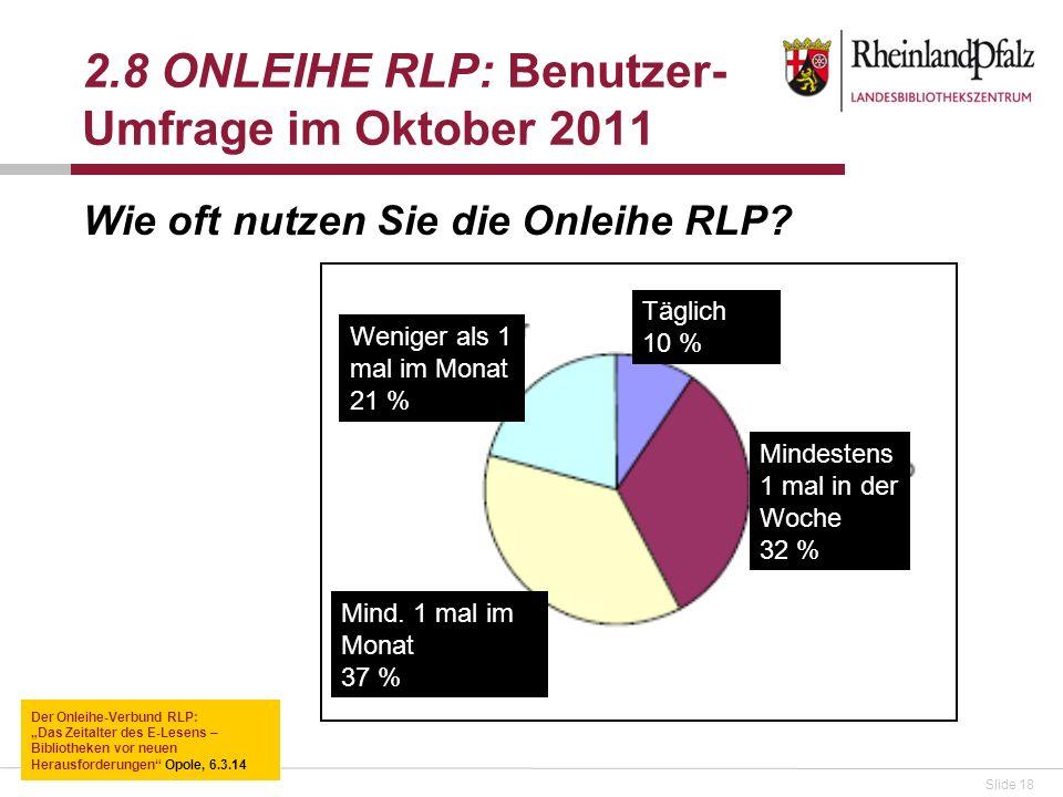 2.8 ONLEIHE RLP: Benutzer-Umfrage im Oktober 2011