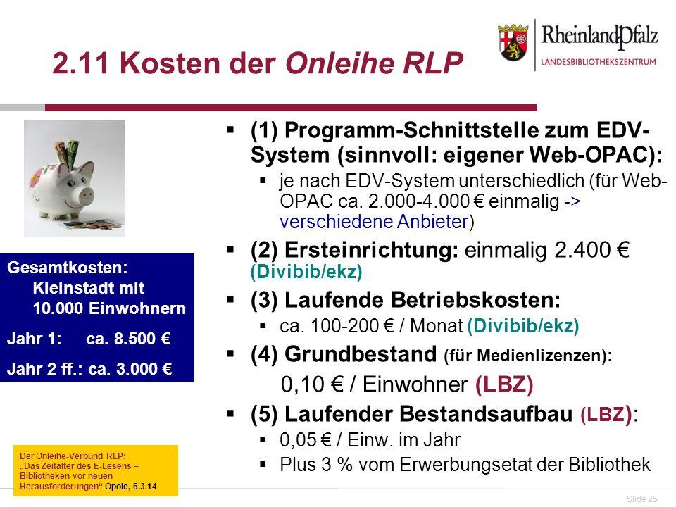 2.11 Kosten der Onleihe RLP (1) Programm-Schnittstelle zum EDV-System (sinnvoll: eigener Web-OPAC):