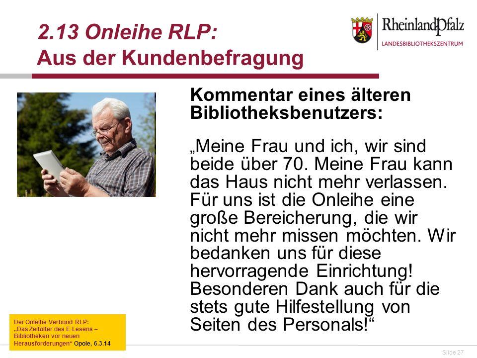 2.13 Onleihe RLP: Aus der Kundenbefragung