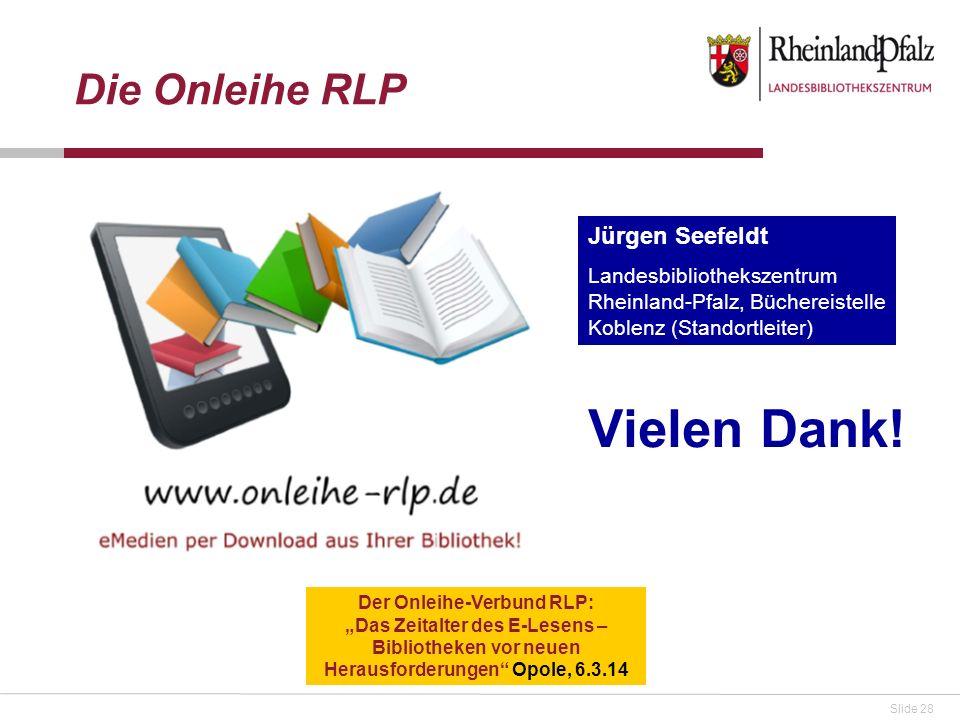 Vielen Dank! Die Onleihe RLP Jürgen Seefeldt