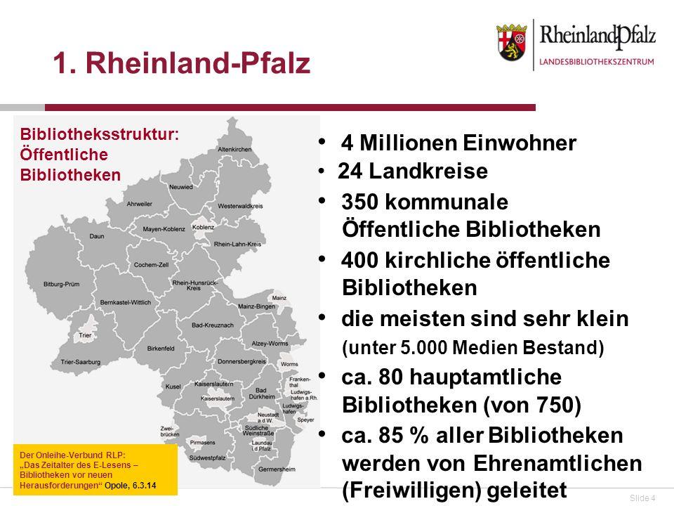 1. Rheinland-Pfalz 4 Millionen Einwohner 350 kommunale