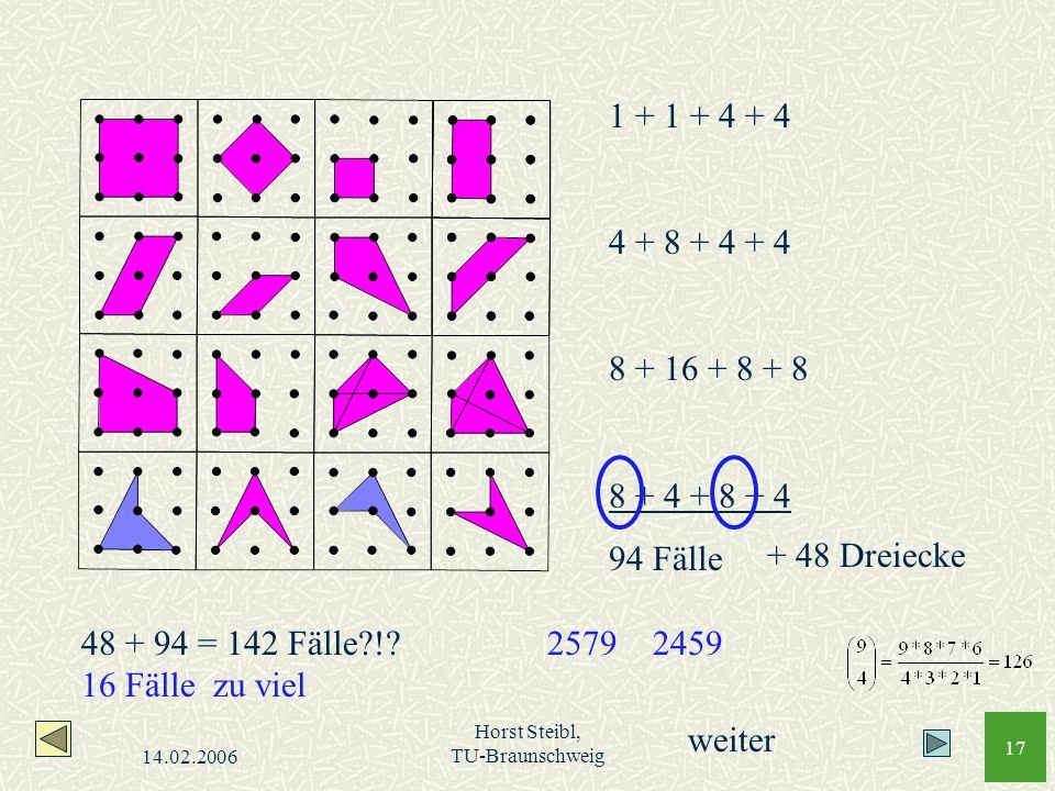 1 + 1 + 4 + 4 4 + 8 + 4 + 4. 8 + 16 + 8 + 8. 8 + 4 + 8 + 4. 94 Fälle. + 48 Dreiecke. 48 + 94 = 142 Fälle ! 16 Fälle zu viel.
