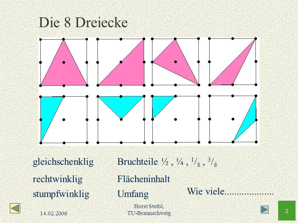 Die 8 Dreiecke gleichschenklig Bruchteile ½ , ¼ , 1/8 , 3/8