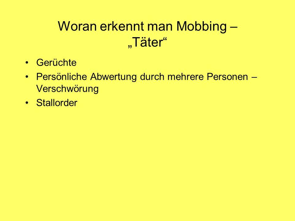"""Woran erkennt man Mobbing – """"Täter"""