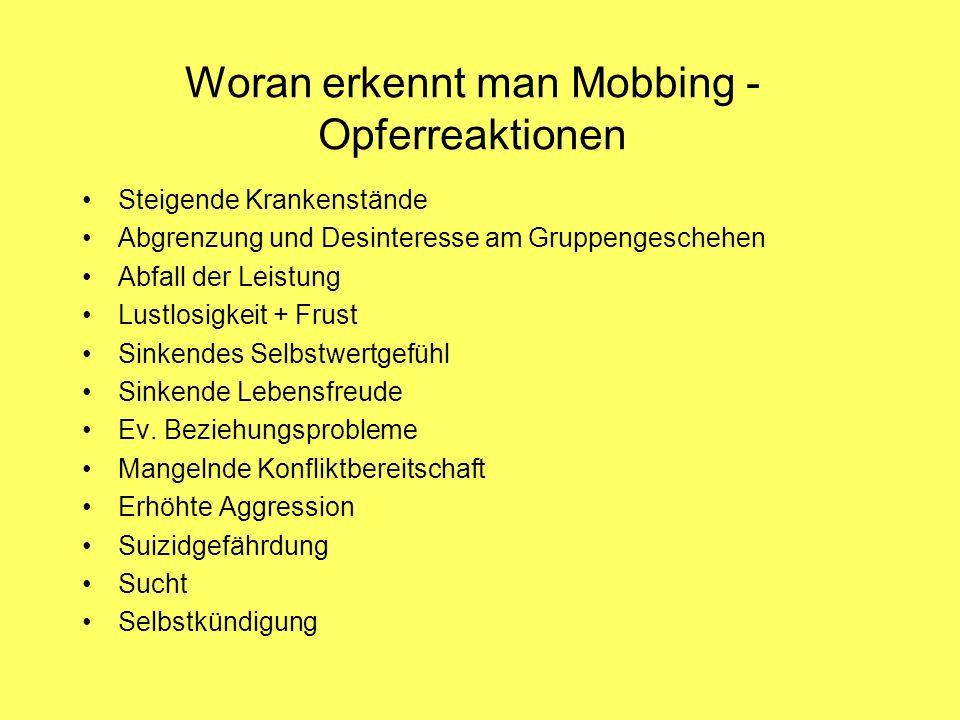 Woran erkennt man Mobbing - Opferreaktionen