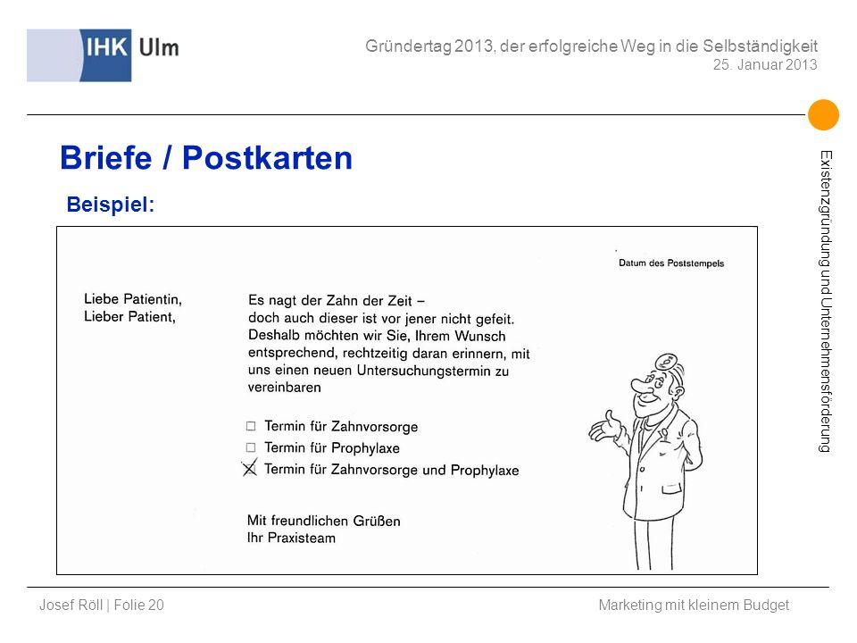 Briefe / Postkarten Beispiel: