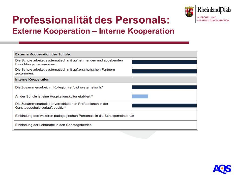 Professionalität des Personals: Externe Kooperation – Interne Kooperation