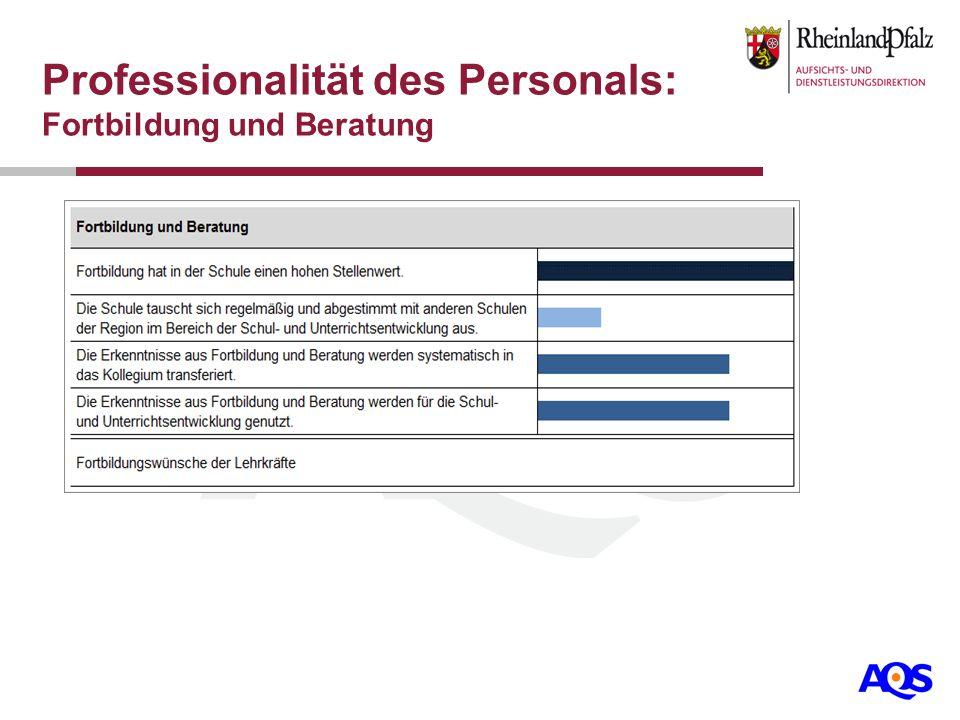 Professionalität des Personals: Fortbildung und Beratung