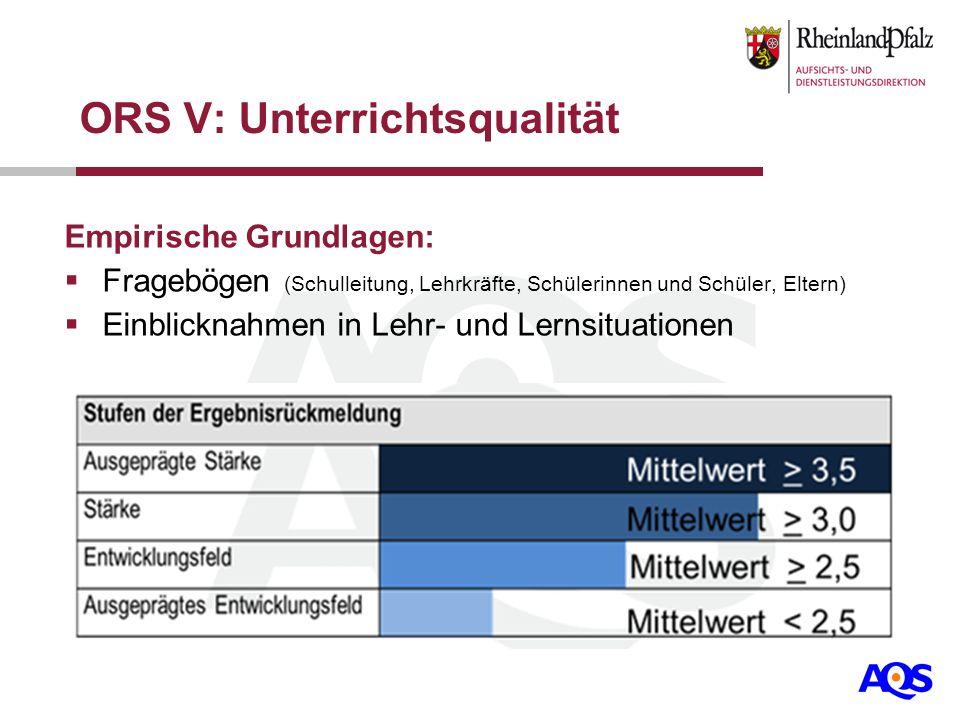 ORS V: Unterrichtsqualität