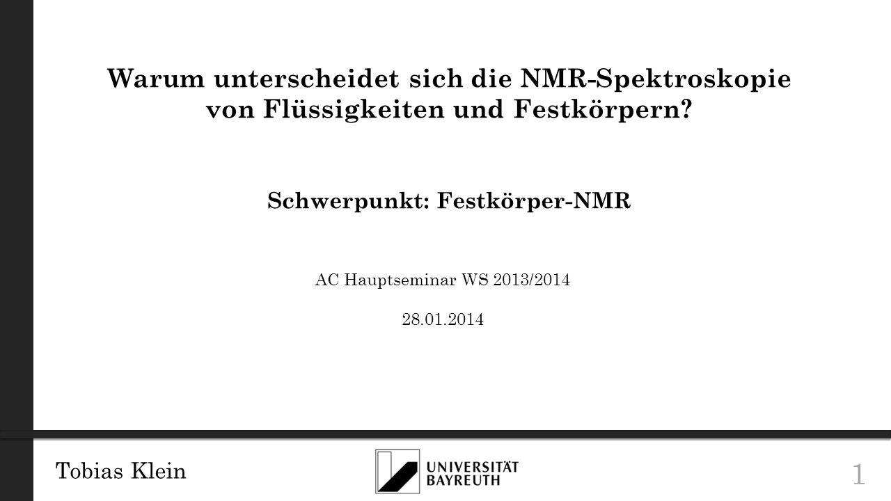 Schwerpunkt: Festkörper-NMR