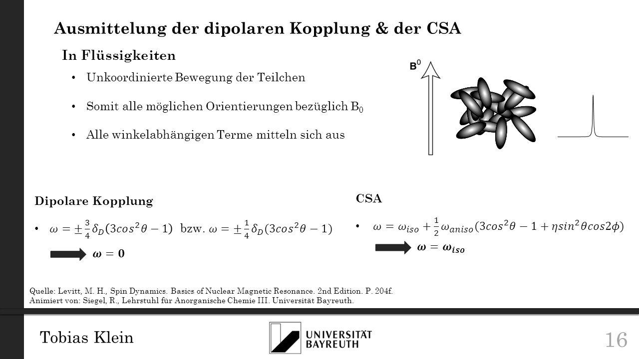 Ausmittelung der dipolaren Kopplung & der CSA