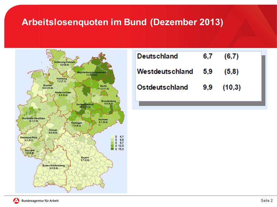 Arbeitslosenquoten im Bund (Dezember 2013)
