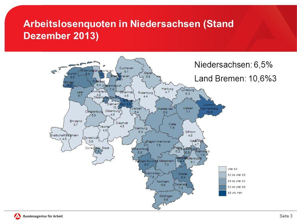 Arbeitslosenquoten in Niedersachsen (Stand Dezember 2013)