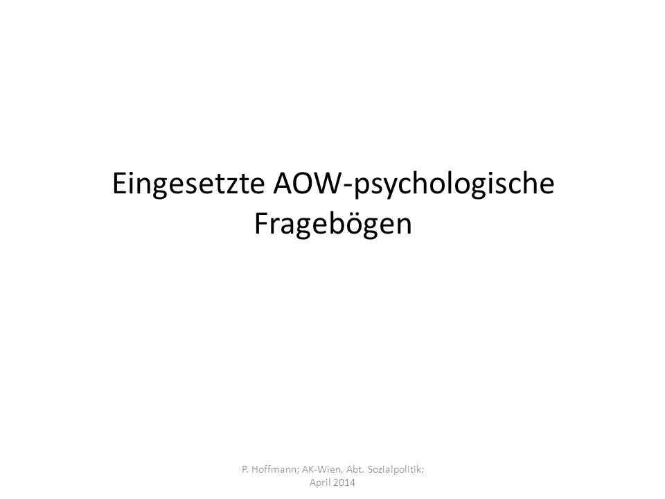 Eingesetzte AOW-psychologische Fragebögen