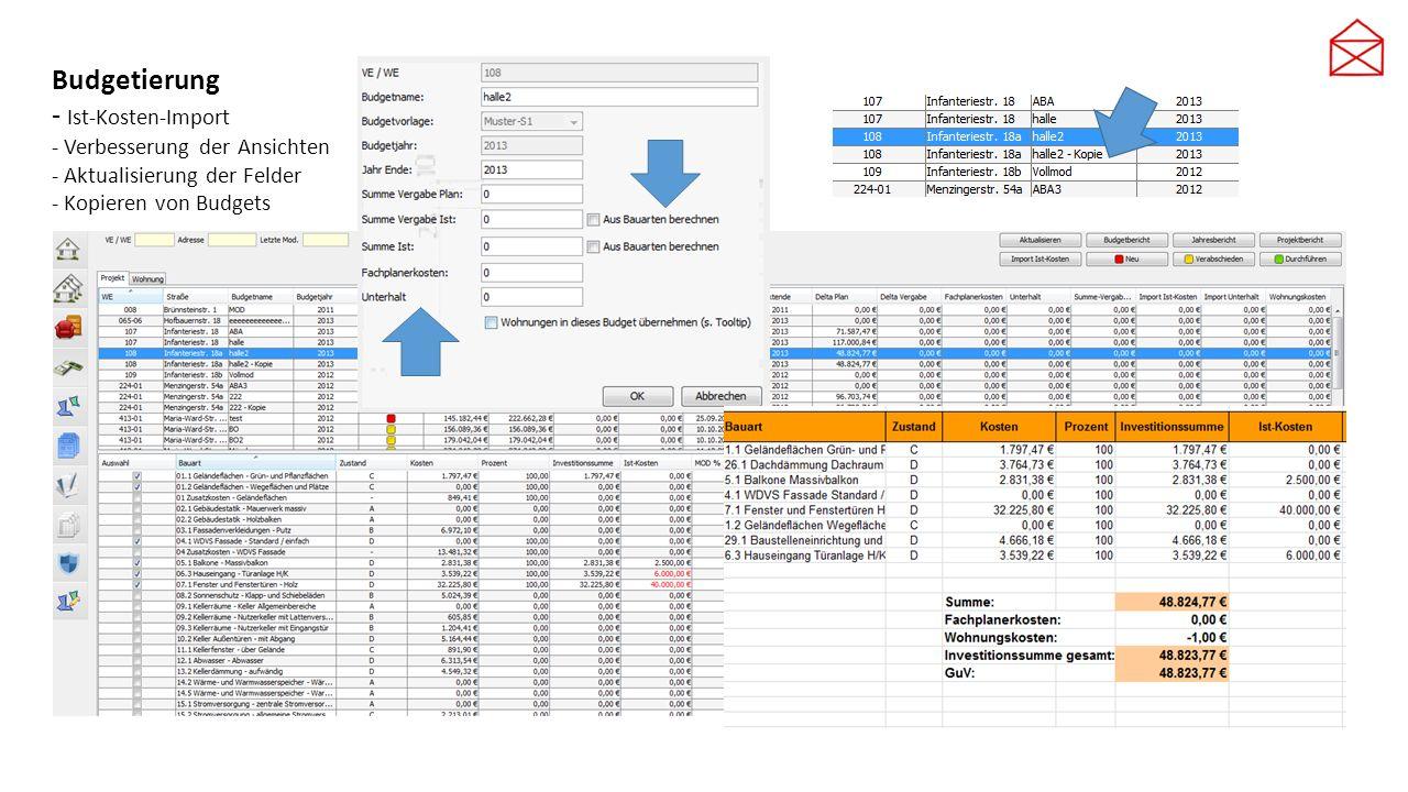 Budgetierung - Ist-Kosten-Import - Verbesserung der Ansichten