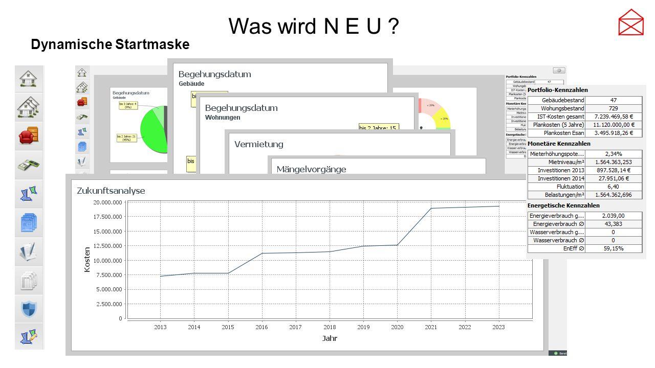 Was wird N E U Dynamische Startmaske