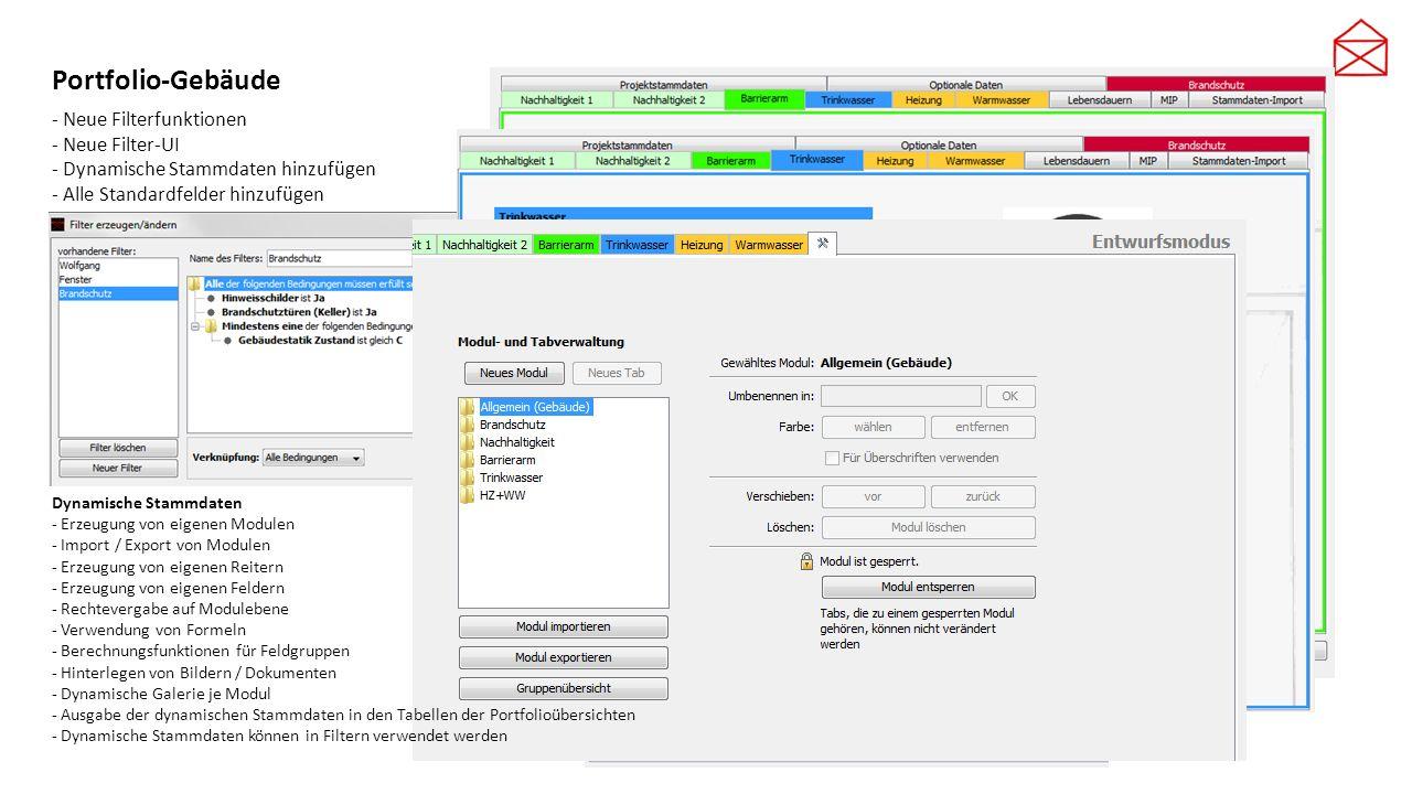 Portfolio-Gebäude - Neue Filterfunktionen - Neue Filter-UI