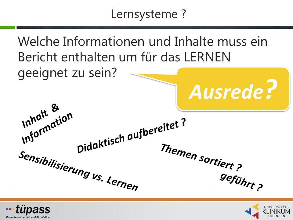Lernsysteme Welche Informationen und Inhalte muss ein Bericht enthalten um für das LERNEN geeignet zu sein