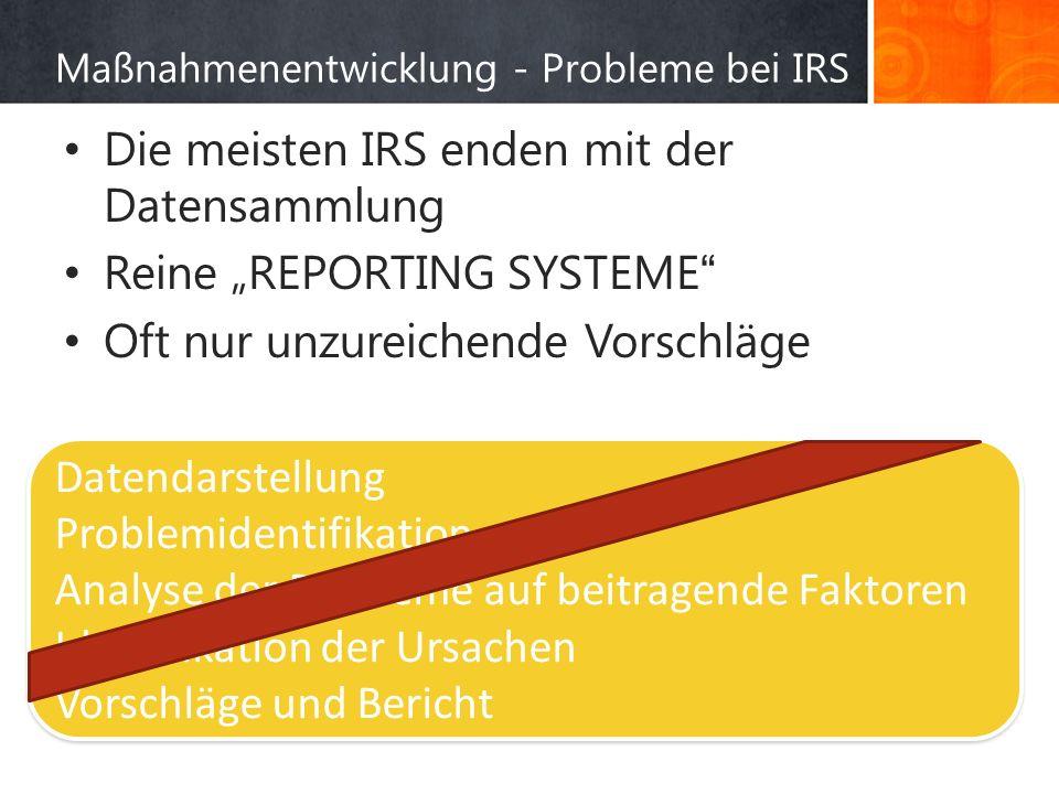 Maßnahmenentwicklung - Probleme bei IRS