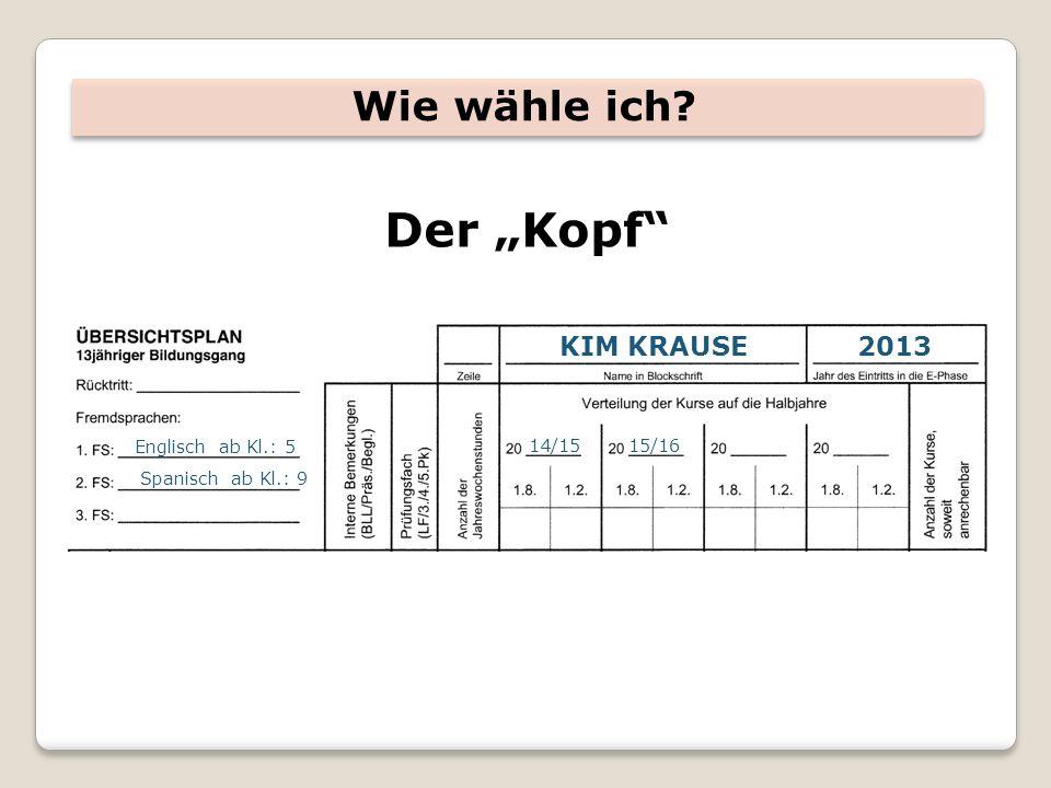 """Der """"Kopf Wie wähle ich KIM KRAUSE 2013 Englisch ab Kl.: 5 14/15"""