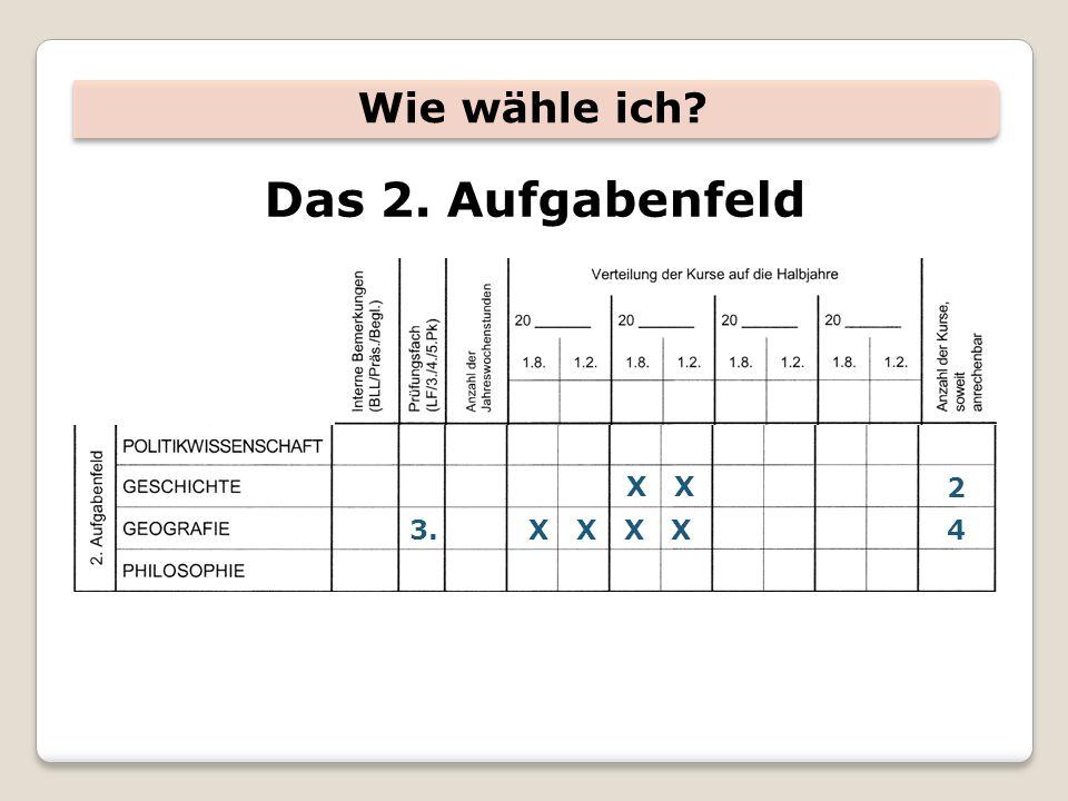 Wie wähle ich Das 2. Aufgabenfeld X X 2 3. X X X X 4