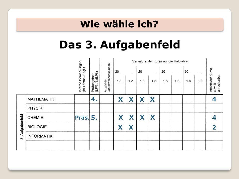 Das 3. Aufgabenfeld Wie wähle ich 4. X X X X 4 5. X X X X 4 X X 2