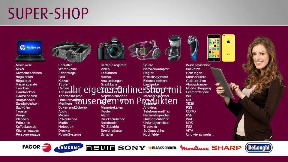Ihr eigener Online-Shop mit tausenden von Produkten