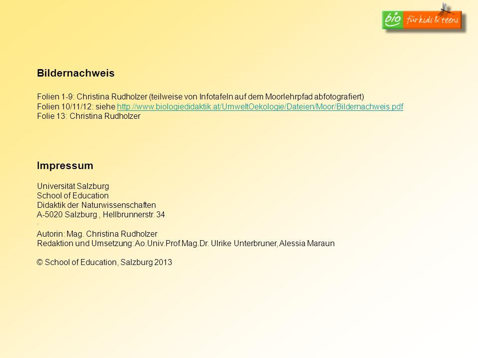 Bildernachweis Folien 1-9: Christina Rudholzer (teilweise von Infotafeln auf dem Moorlehrpfad abfotografiert)