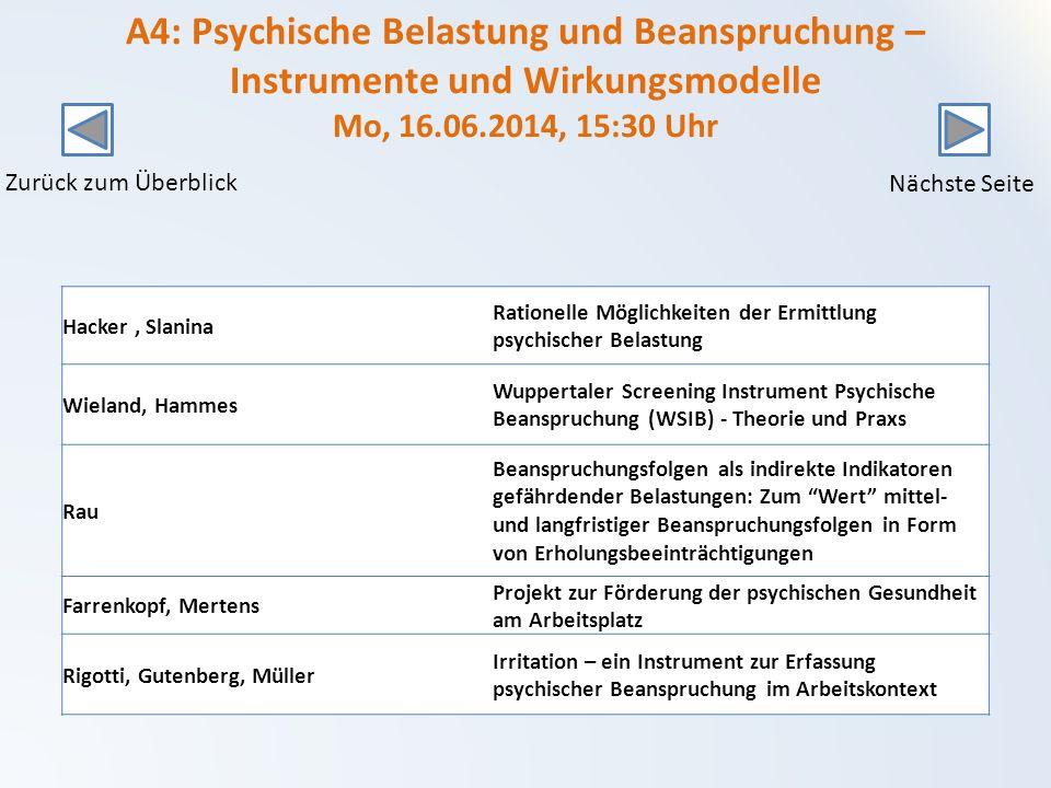 A4: Psychische Belastung und Beanspruchung – Instrumente und Wirkungsmodelle Mo, 16.06.2014, 15:30 Uhr