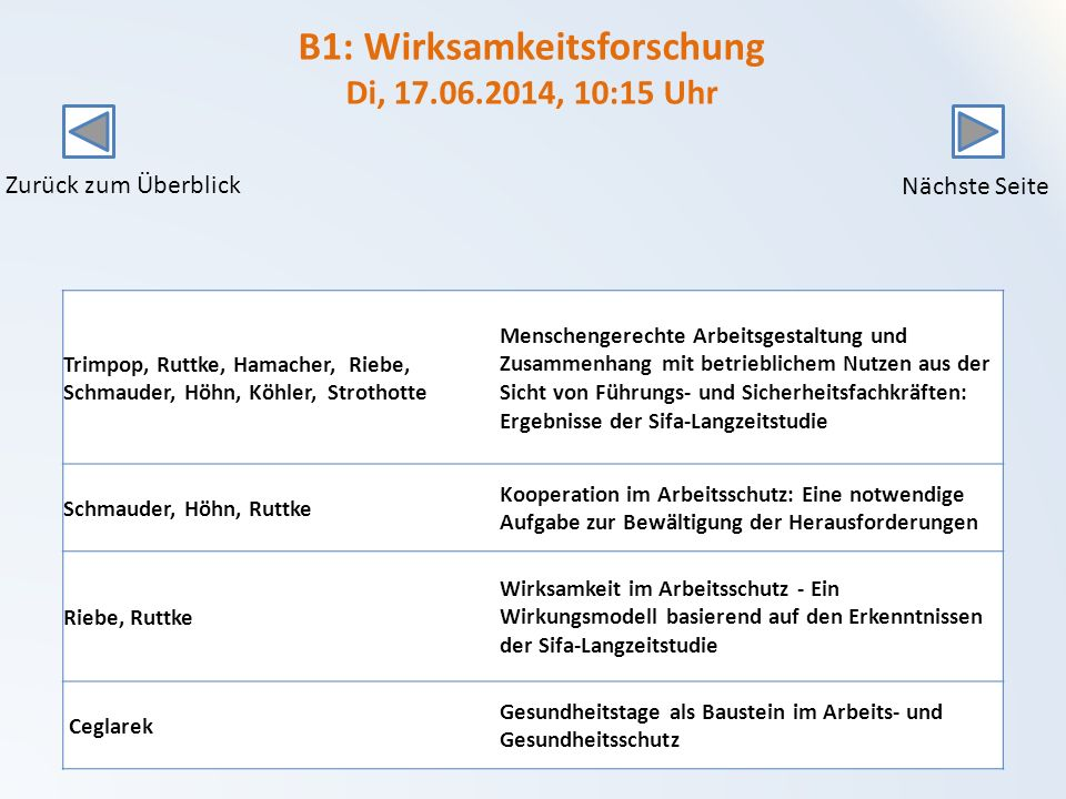 B1: Wirksamkeitsforschung Di, 17.06.2014, 10:15 Uhr