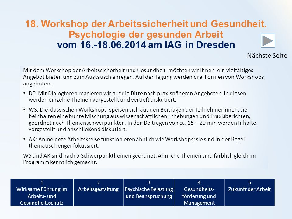 18. Workshop der Arbeitssicherheit und Gesundheit