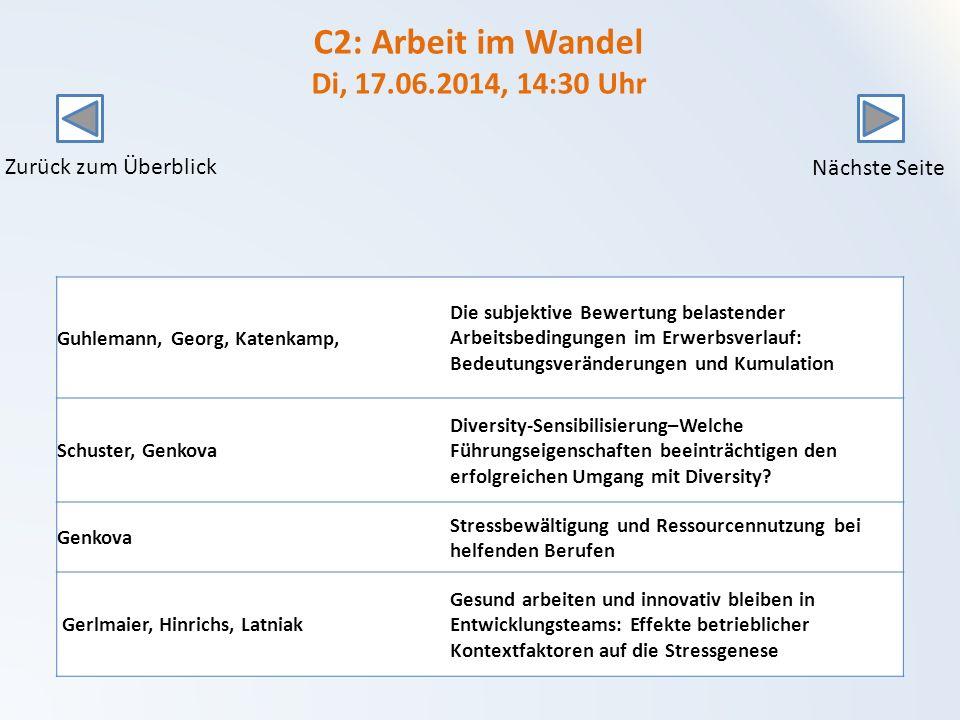 C2: Arbeit im Wandel Di, 17.06.2014, 14:30 Uhr
