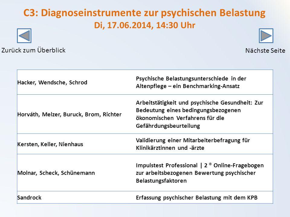 C3: Diagnoseinstrumente zur psychischen Belastung Di, 17. 06