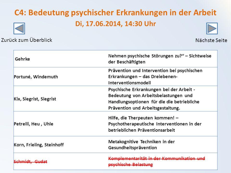 C4: Bedeutung psychischer Erkrankungen in der Arbeit Di, 17. 06