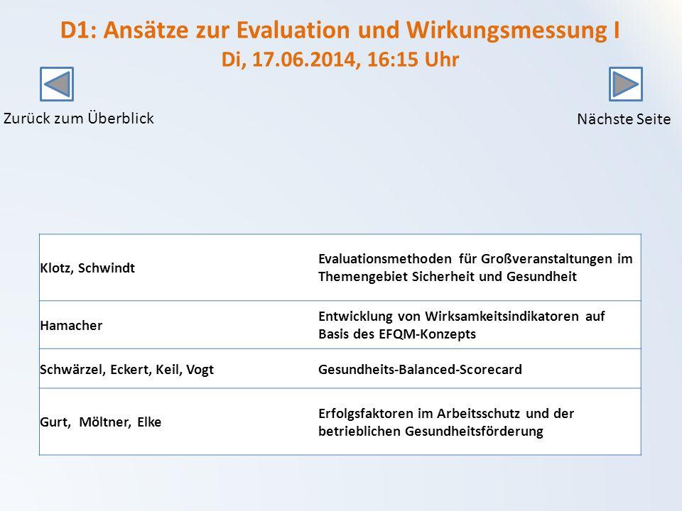 D1: Ansätze zur Evaluation und Wirkungsmessung I Di, 17. 06