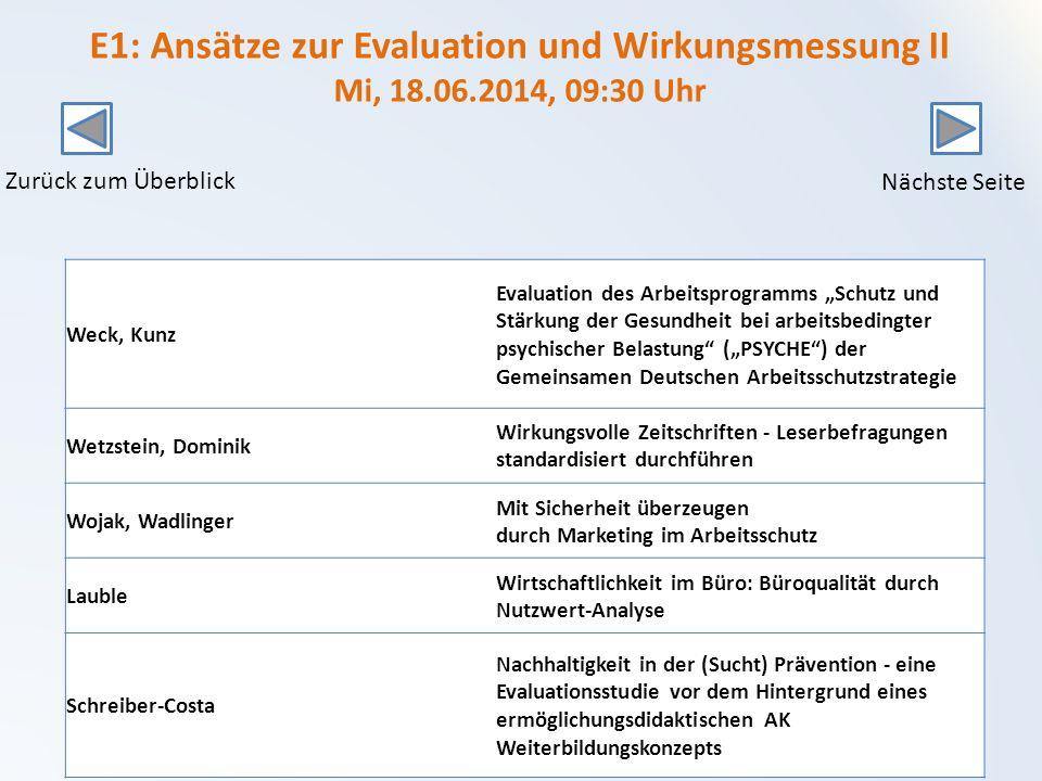 E1: Ansätze zur Evaluation und Wirkungsmessung II Mi, 18. 06