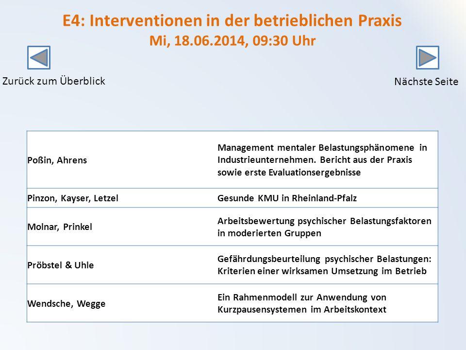 E4: Interventionen in der betrieblichen Praxis Mi, 18. 06