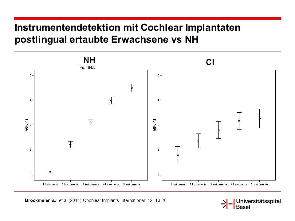 Instrumentendetektion mit Cochlear Implantaten postlingual ertaubte Erwachsene vs NH