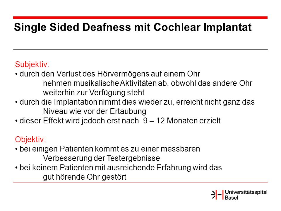 Single Sided Deafness mit Cochlear Implantat