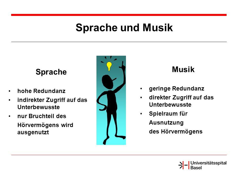 Sprache und Musik Musik Sprache geringe Redundanz hohe Redundanz