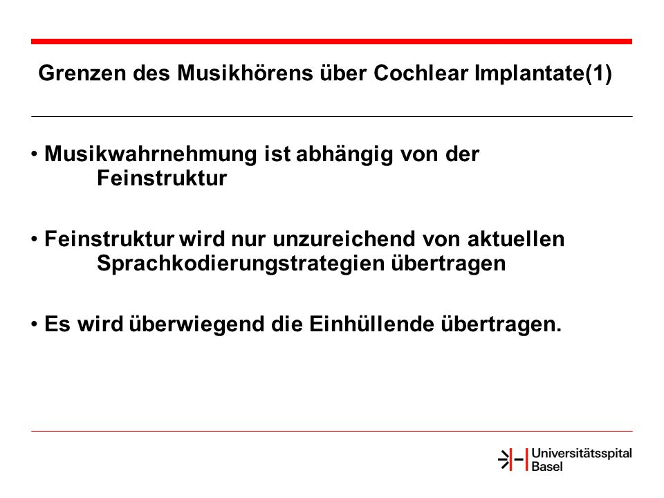 Grenzen des Musikhörens über Cochlear Implantate(1)