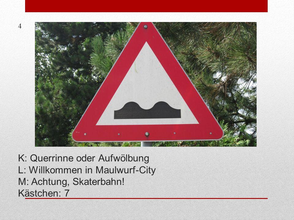 4 K: Querrinne oder Aufwölbung L: Willkommen in Maulwurf-City M: Achtung, Skaterbahn! Kästchen: 7