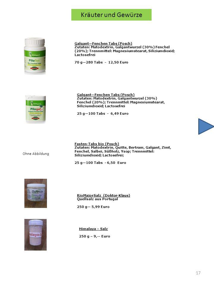 Kräuter und Gewürze Galgant—Fenchen Tabs (Posch)