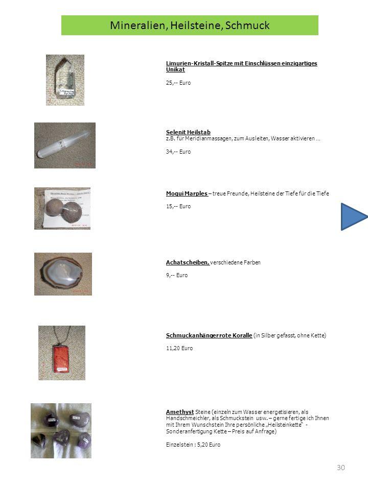 Mineralien, Heilsteine, Schmuck