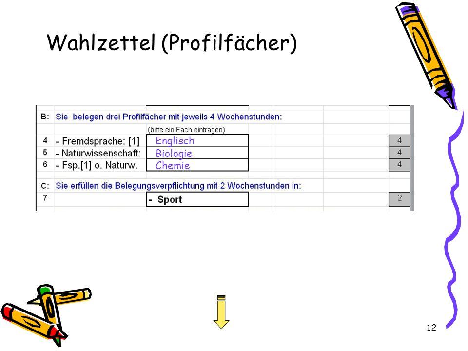Wahlzettel (Profilfächer)