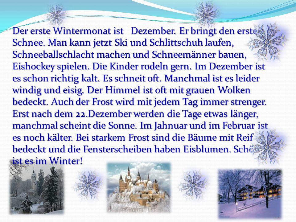 Der erste Wintermonat ist Dezember. Er bringt den ersten Schnee