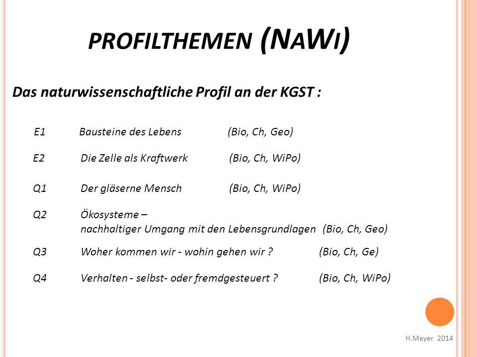 profilthemen (NaWi) Das naturwissenschaftliche Profil an der KGST :